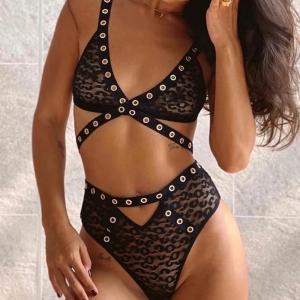Sexy Bandage Brief Leopard Transparent Lingerie Set
