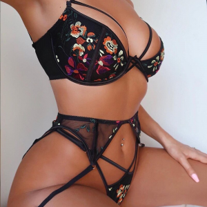 Sexy 3 piece Floral Embrodiery Lace Lingerie Set Transparent Bra+ Thong Sexy