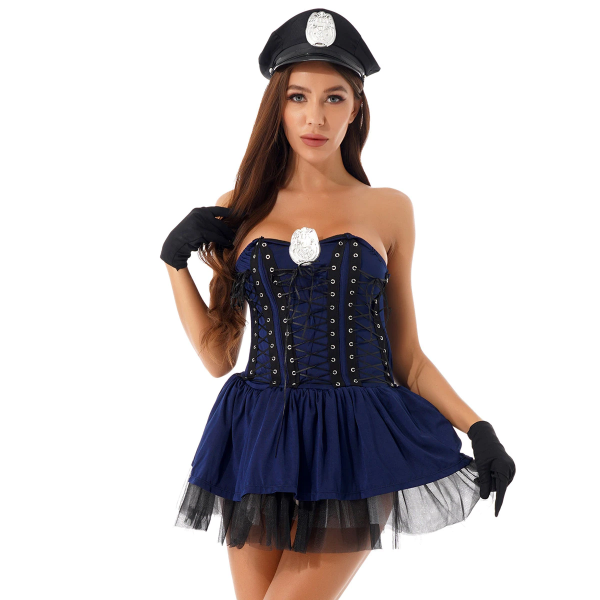 Sexy Halloween Policewoman Role Play Costume With Hat + Gloves